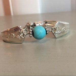 Artisan sterling and turquoise bracelet.  Handmade